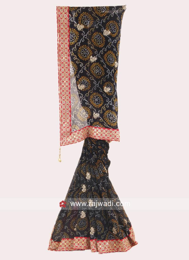 Black Bandhani Work Saree