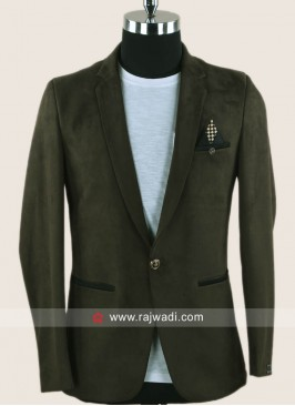 Black berry Jute Fabric Blazer For Mens