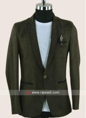 Black berry Jute Fabric Blazer For Mens