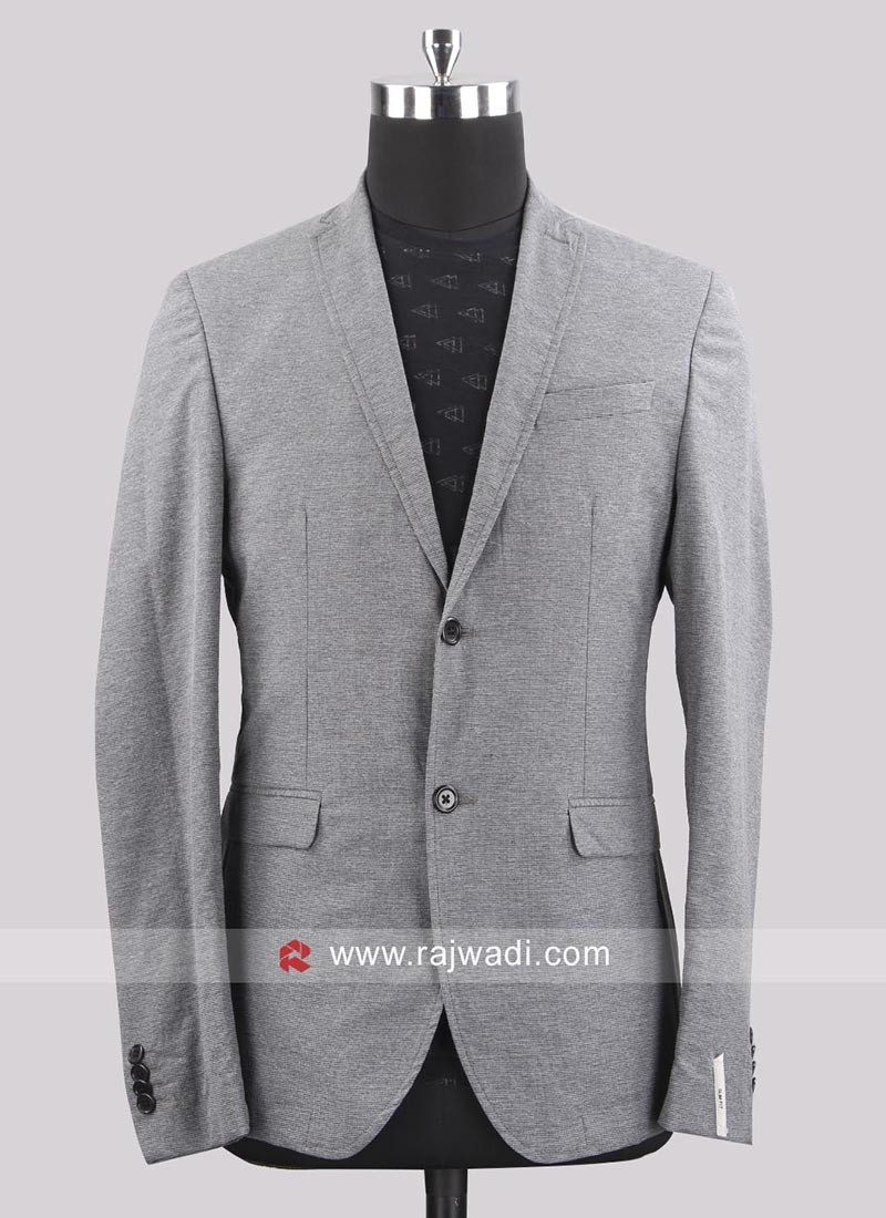 Black berry Jute Silk Pale Grey Blazer