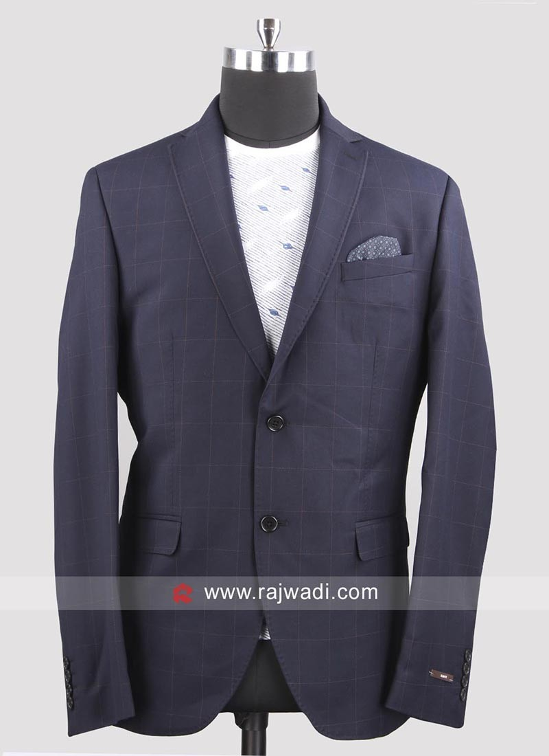 Black berry Terry Rayon Navy Blazer For Wedding