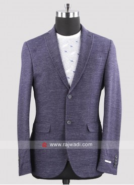 Black berry Terry Wool Slim Fit Blazer