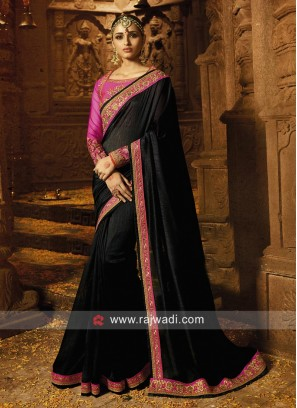 Black Border Work Saree