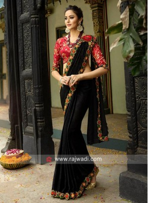 Black Border Work Saree with Blouse