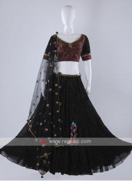 Black chiffion lehenga choli with net dupatta