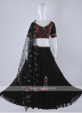 Black chiffion lehenga choli with net dupatta