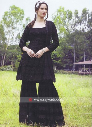 Black Chiffon Gharara Suit with Dupatta