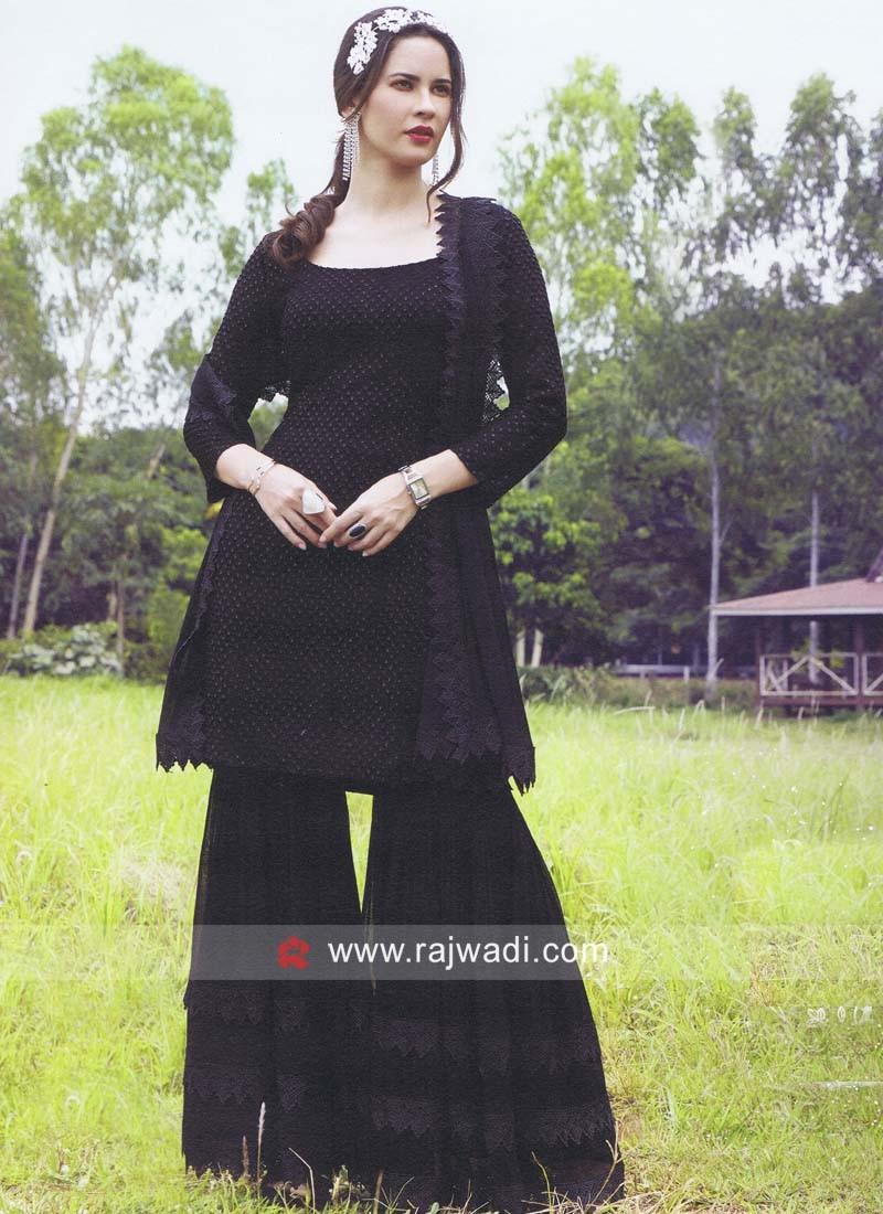 Black Chiffon Gharara Suit with Dupatta