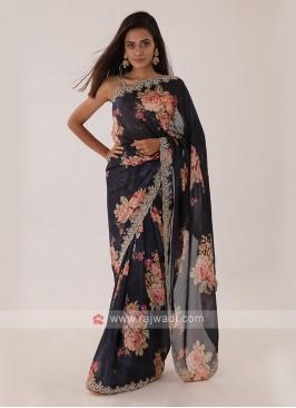 Black Chiffon Silk Saree