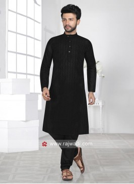 Black Chikan Fabric Kurta Set For Eid