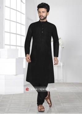 Black Chikan Fabric Kurta Set For Eid