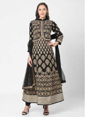 Black Color Koti Style Anarkali Suit