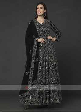 Black Color Anarkali Suit With Dupatta