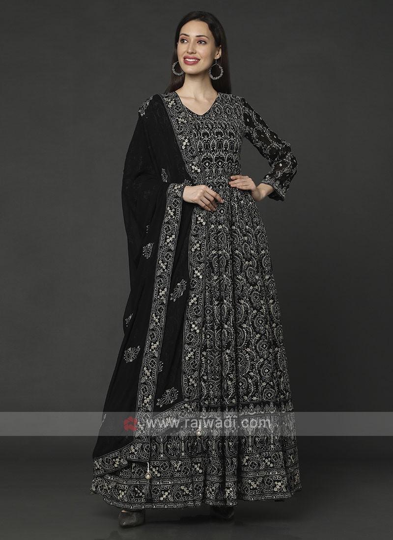 Black Color Anarkali Suit With Dupatta