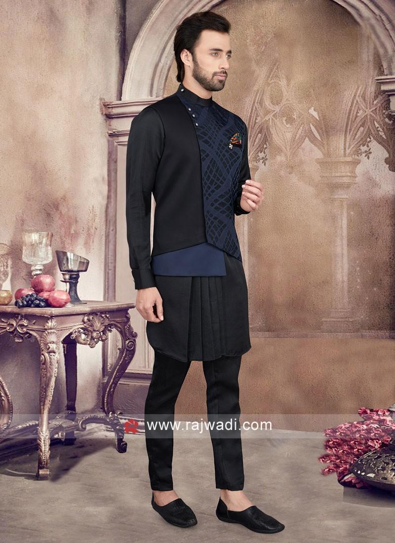 Black Color And Navy Blue Nehru Jacket Set