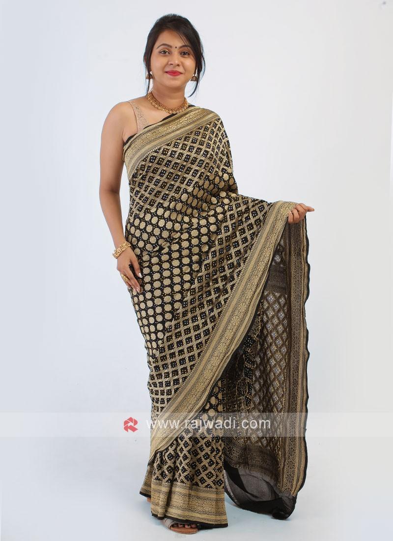 Black Color Chiffon Bandhani Saree