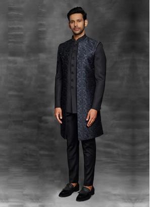 Black Color Koti Style Indowestern