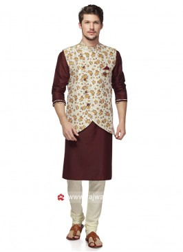 Cream Color Koti With Kurta and Bottom