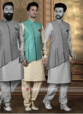 Sky Blue Color Koti With Kurta and Bottom