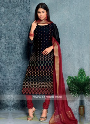 Black Color Kurta with Churidar & Dupatta