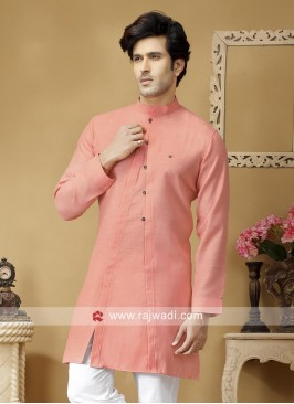 Coral Color Kurta With Side Buttons