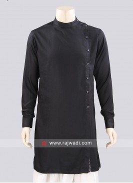 Black Color Kurta With Side Buttons