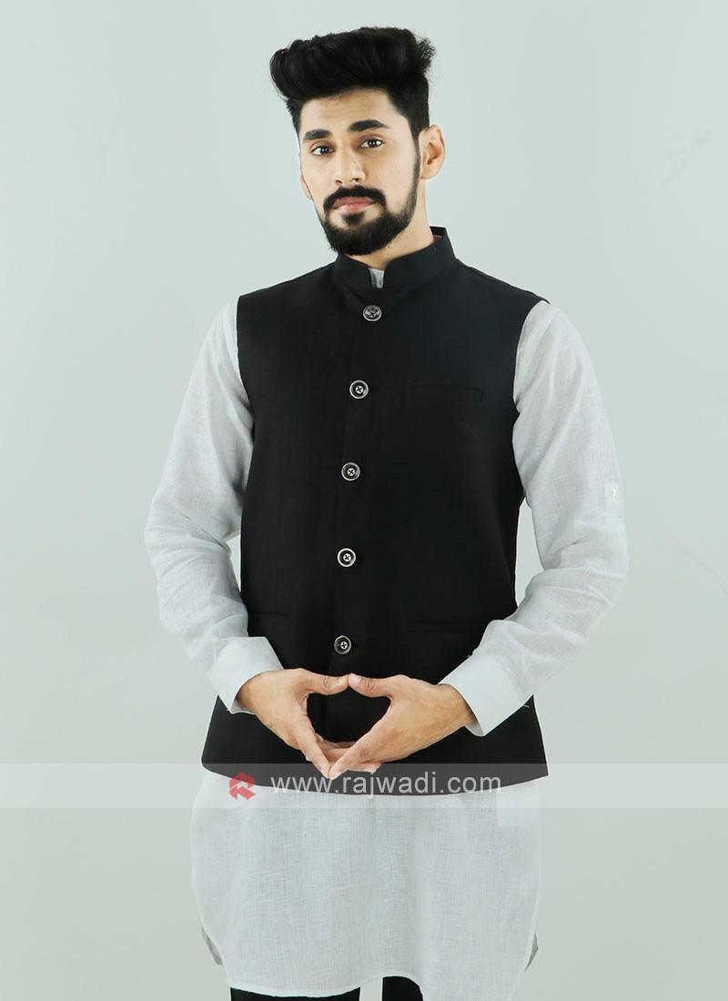 Black Color Nehru Jacket For Men