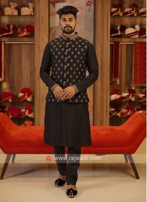 Black Color Nehru Jacket Set.