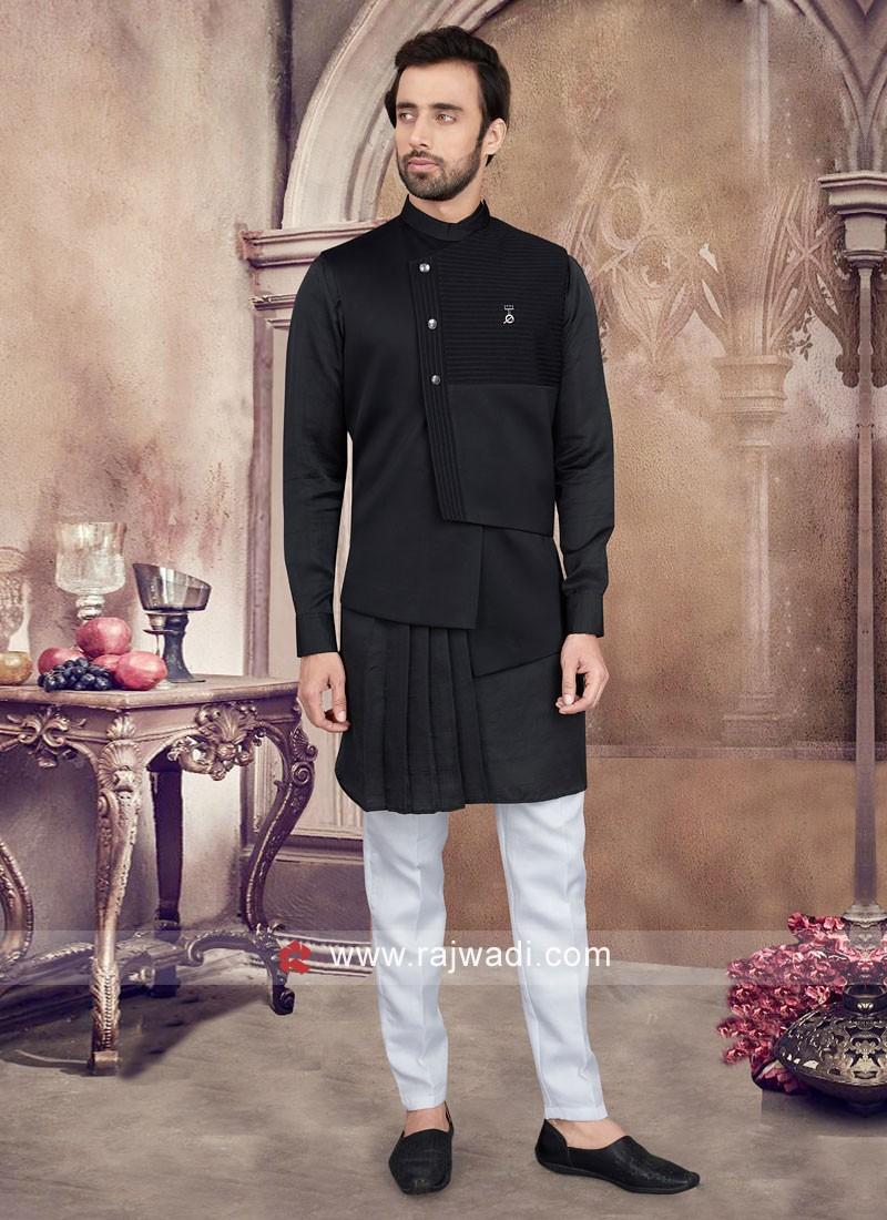 Black Color Nehru Jacket Set