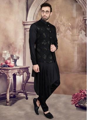 Fancy Black Color Nehru Jacket Suit