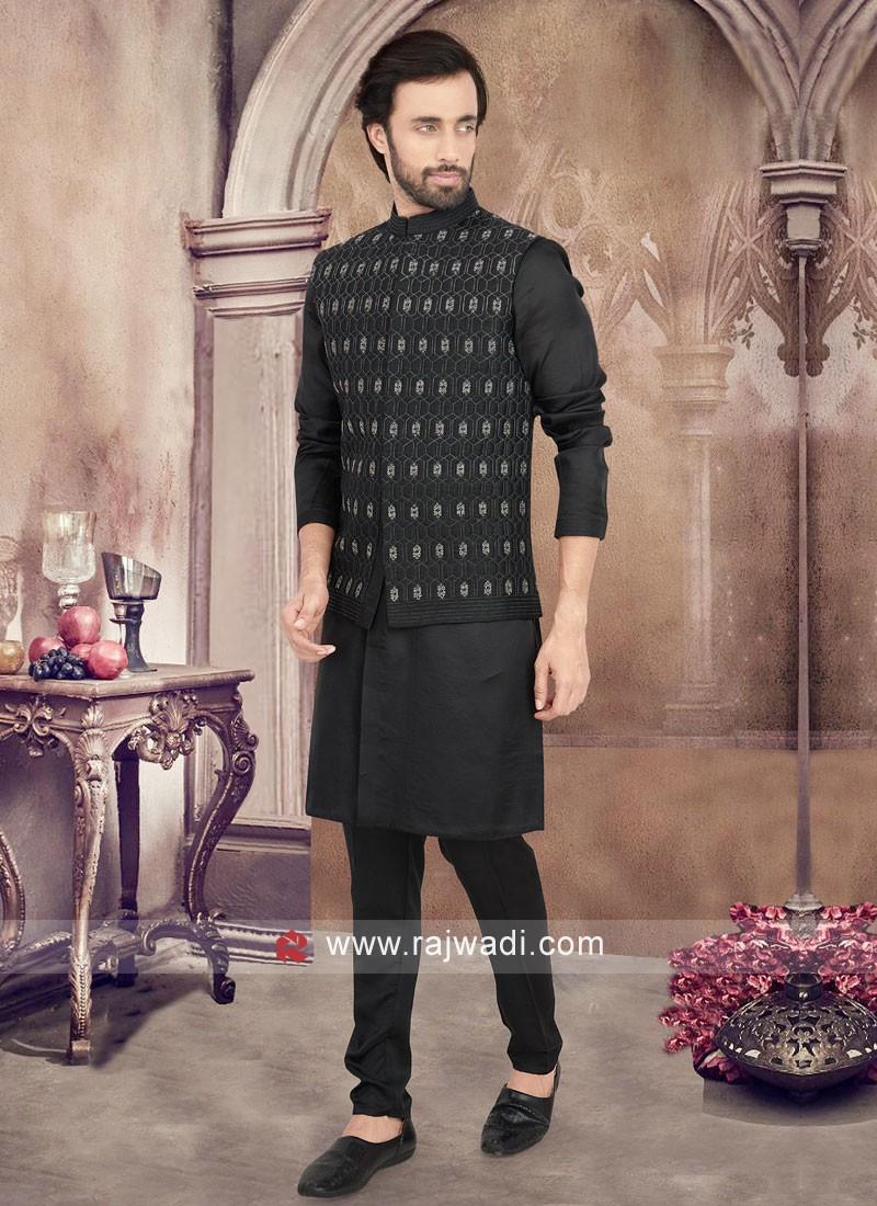 Black Color Nehru Jacket Suit