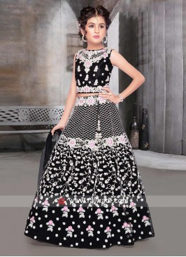 Black color net fabric choli suit