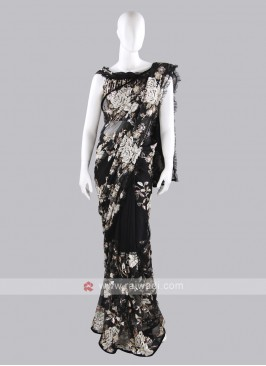 Black color net saree