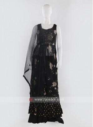 Black color Palazzo Suit with dupatta