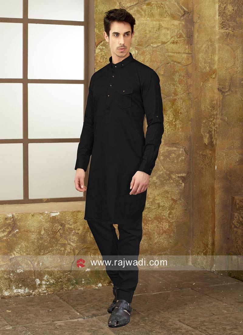 Black Color Pathani Set