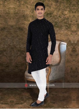Black Color Pathani Set For Party