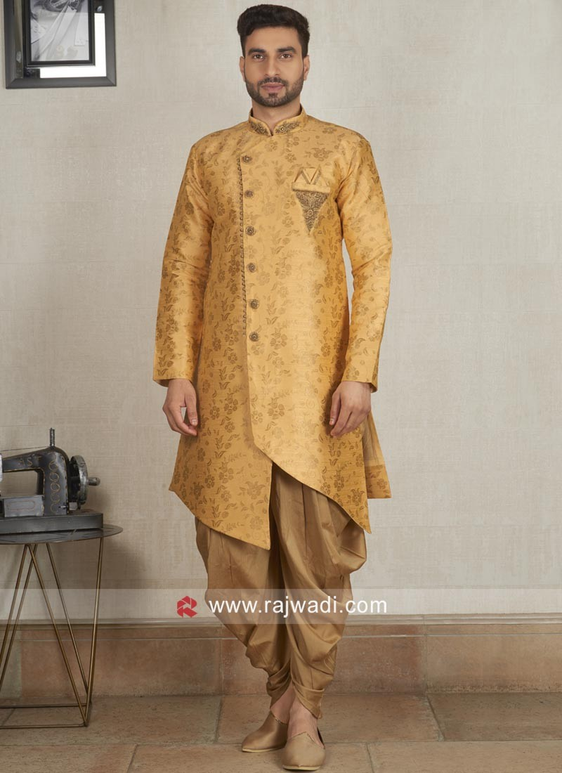 Golden Yellow Color Patiala Suit With Fancy Buttons