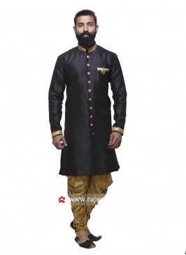 Black Color Patiala Suit With Fancy Buttons
