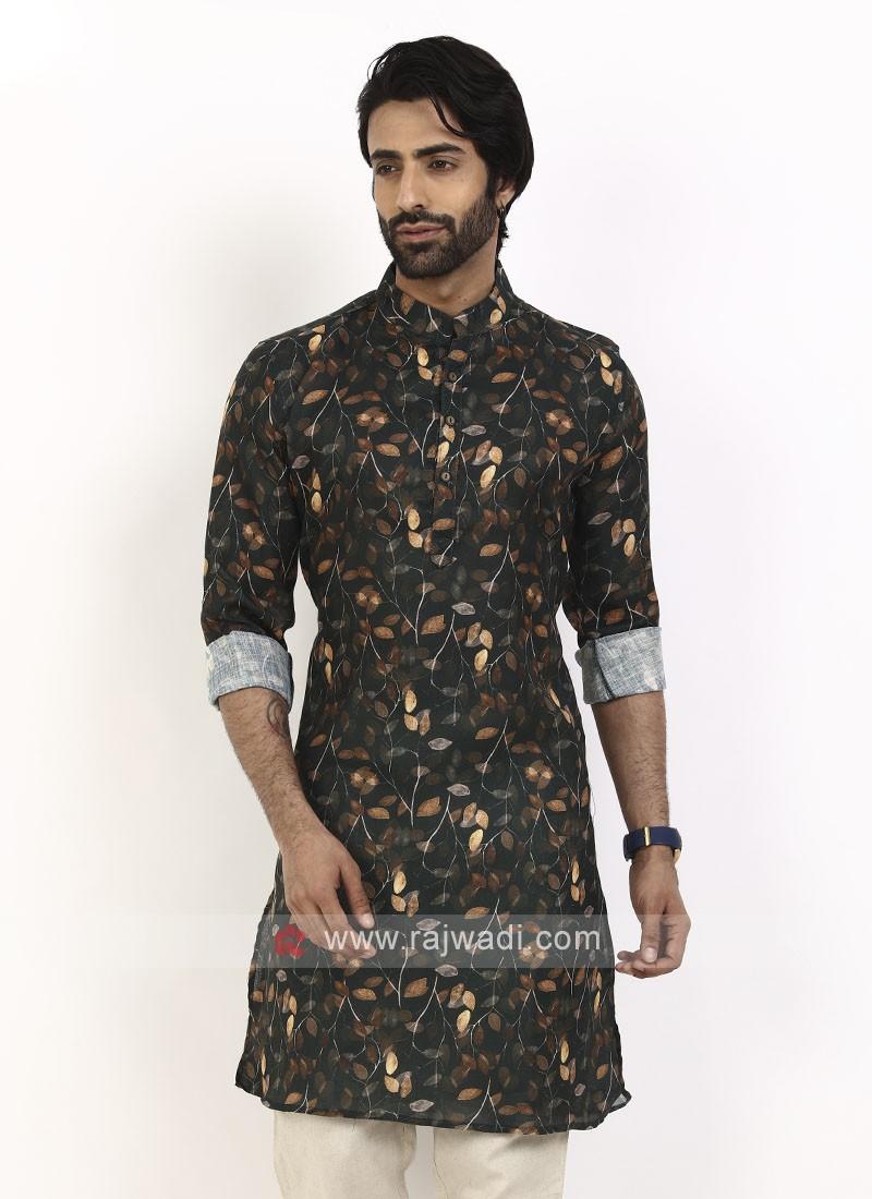 Black color printed kurta