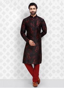 Black Color Printed Kurta Pajama