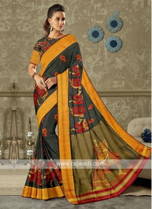 Black color pure silk saree