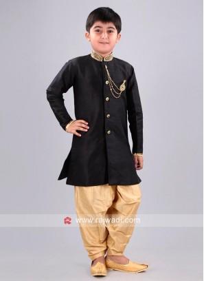 Black Color Raw Silk Fabric indo Western