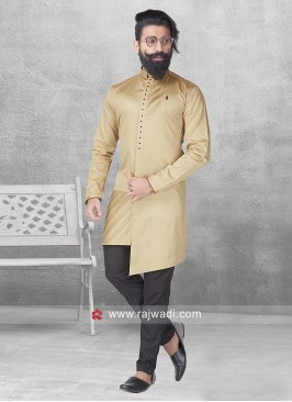 Khaki Color Cotton Satin Pathani