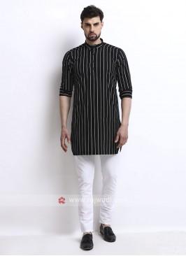black color striped kurta