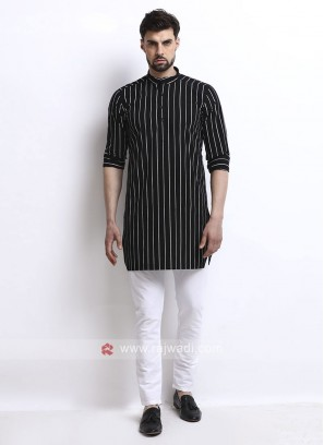 black color striped kurta