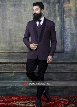 Plain Wine Color Suit For Party