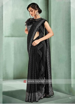 Black colour ready pleated saree