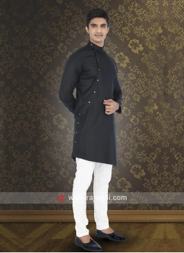 Black Cotton Fabric Kurta Set