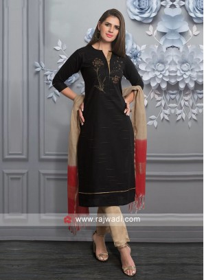 Black Cotton Fabric Salwar Suit