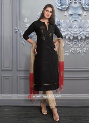 Black Cotton Fabric Salwar Suit